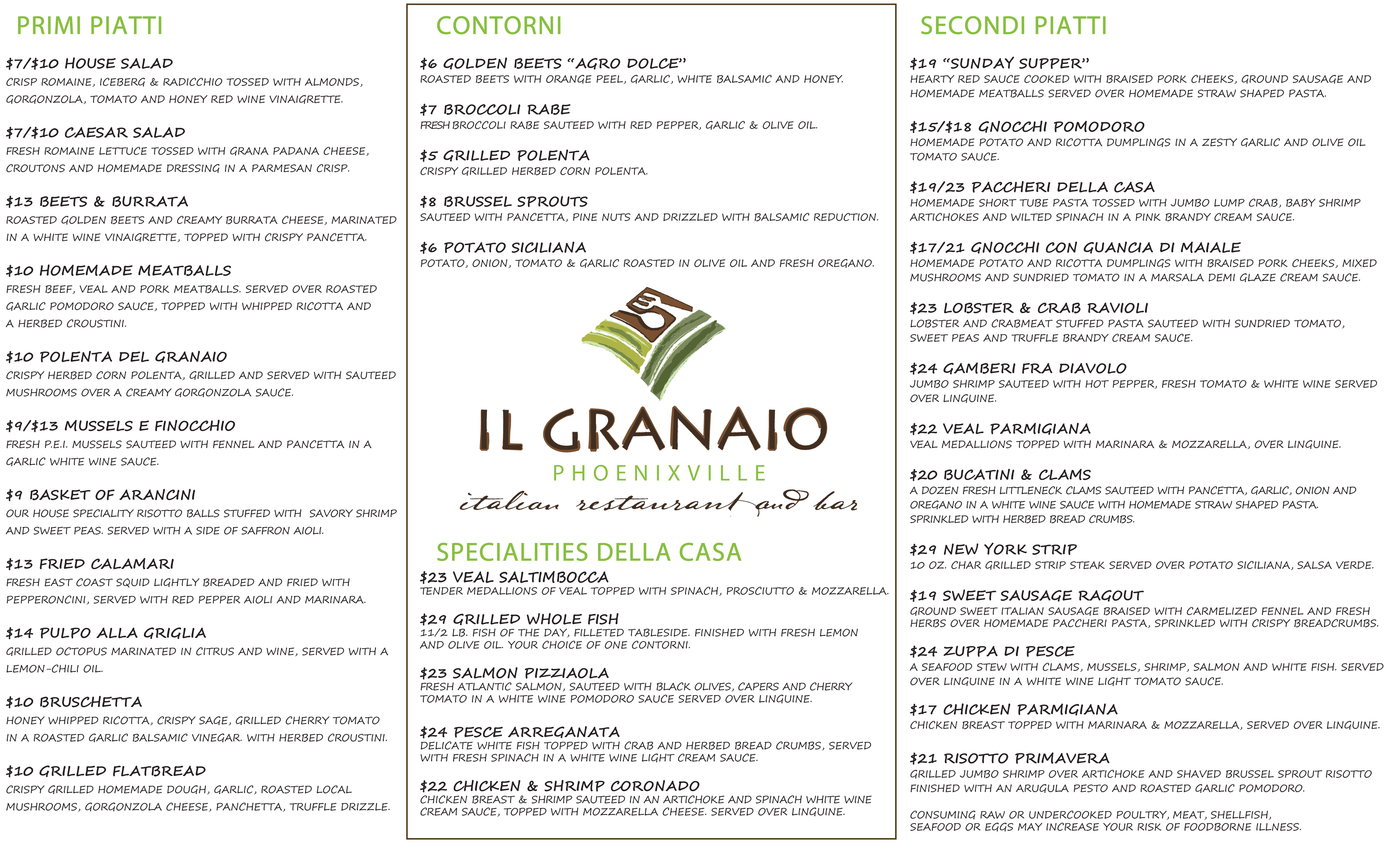 ilgranaio dinner menu pdf